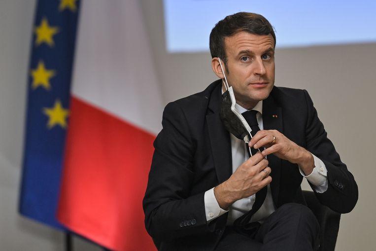 De Franse president Macron zou woedend zijn over het tempo van de vaccinatiecampagne.  Beeld AFP