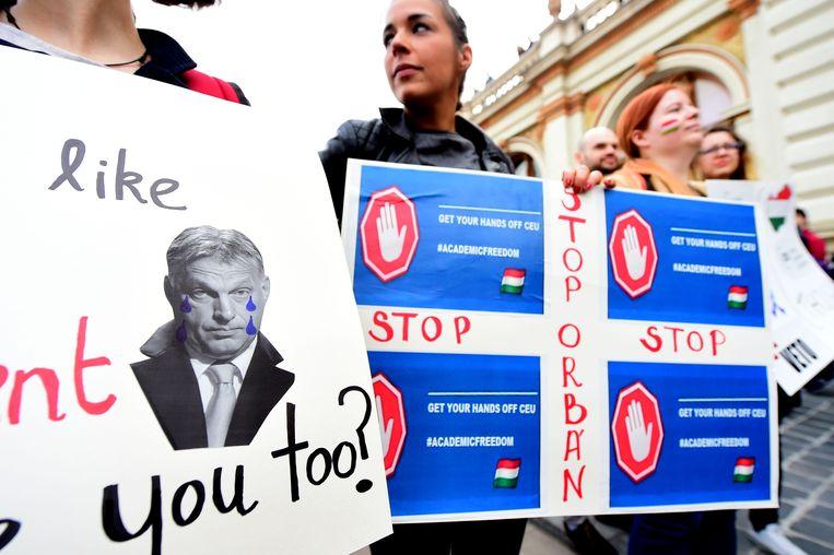 Eerder studentenprotest tegen de plannen van Orbans regering die de academische vrijheid zouden inperken. Beeld uit 2017. Beeld AFP
