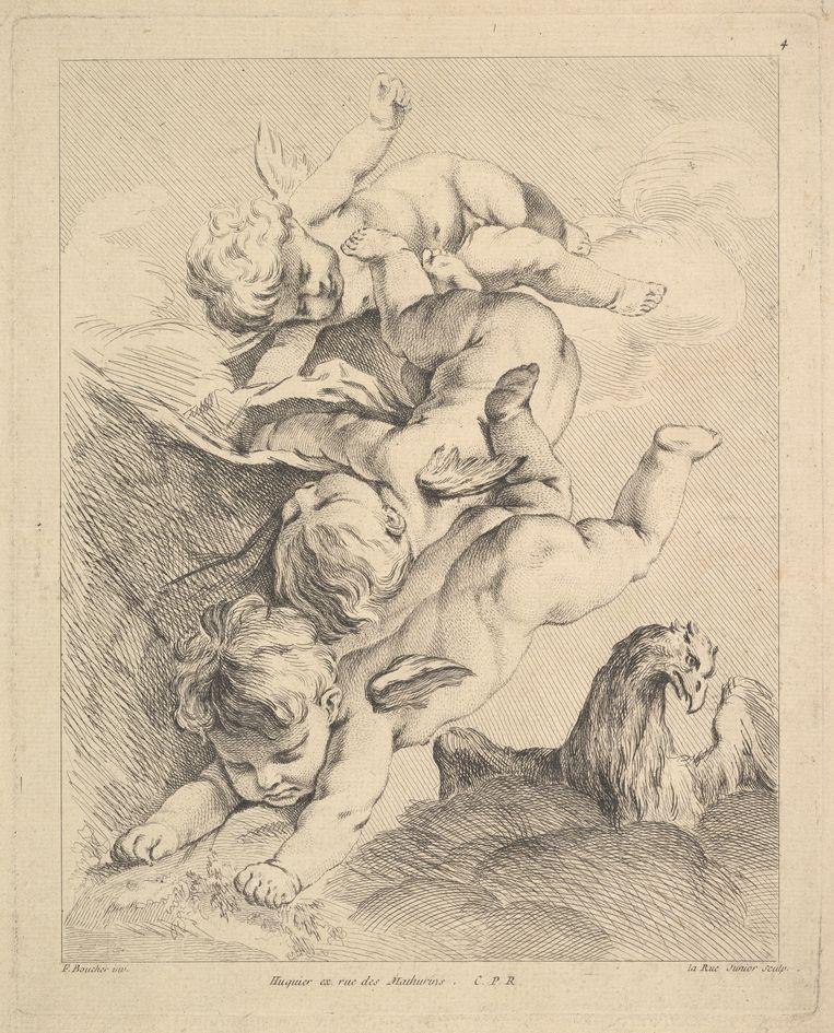 Louis Félix de la rue, Drie cupido's maken een duikeling, 18de eeuw, Metropolitan Museum of Art NY. Beeld Metropolitan Museum of Art