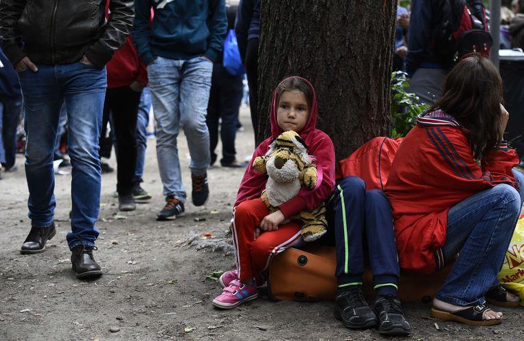 Een vluchtelingenkind voor het ministerie van Gezondheid en Sociale Zaken in Berlijn.