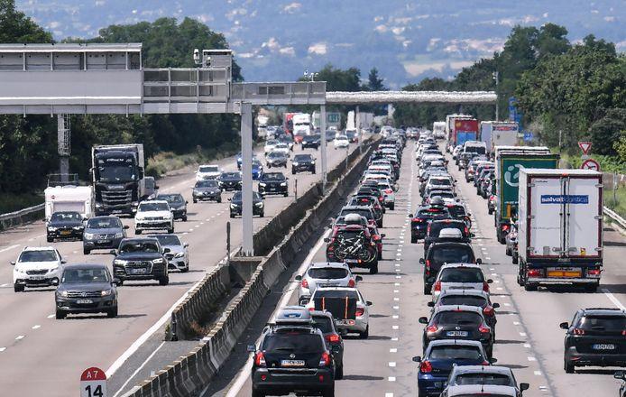 Foto van een week geleden. Vandaag is het opnieuw prijs op de A7 in Frankrijk tussen Lyon en Orange.