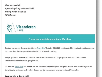 Eerstelijnszone Dender waarschuwt voor phishing mails COVID-certificaten