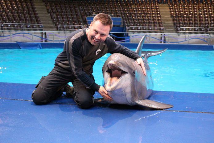 Paul Hulleman aan het werk bij de dolfijnen in het binnenverblijf.