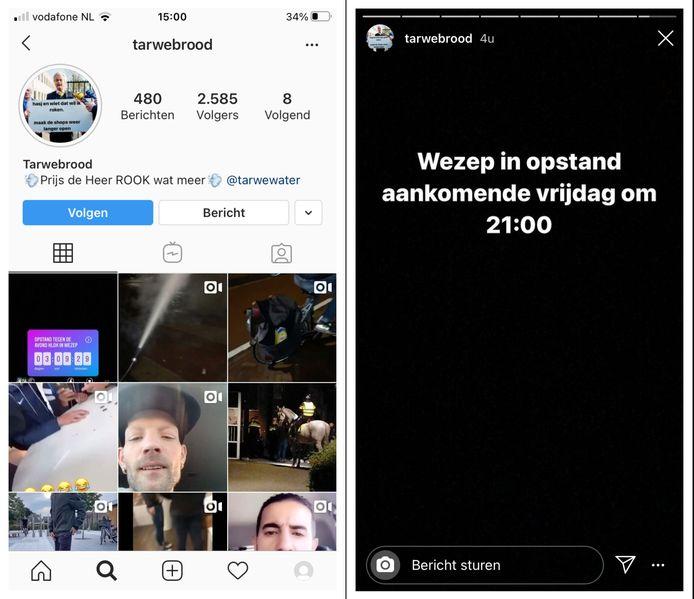 Via het Instagram-account Tarwebrood wordt een oproep gedaan om vrijdagavond in opstand te komen in Wezep.