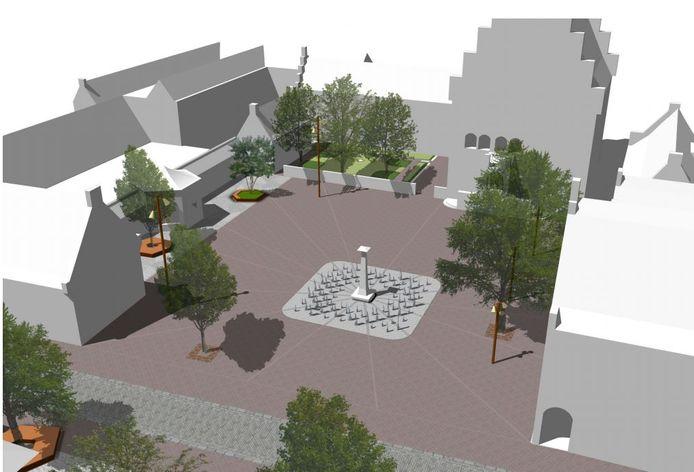 Een impressie van de herinrichting van het Raadhuisplein, met de lantaarn als blikvanger.