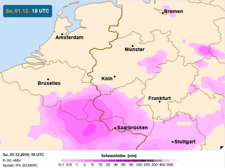 Winterse neerslag op zondag over het zuidoosten van België