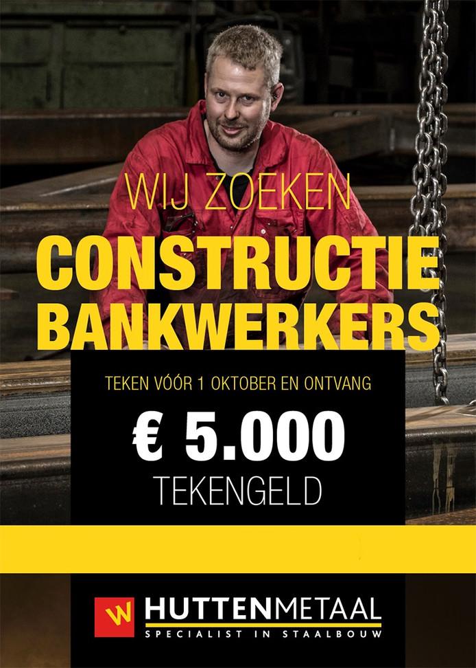 Bij Hutten Metaal Staalbouw zoeken ze nieuw personeel. Wie er komt werken kan direct 5.000 euro op de rekening bijschrijven