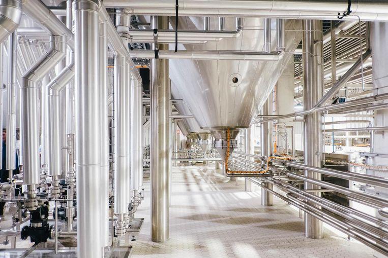 Door deze kilometerslange buizen stromen miljoenen liters bier.