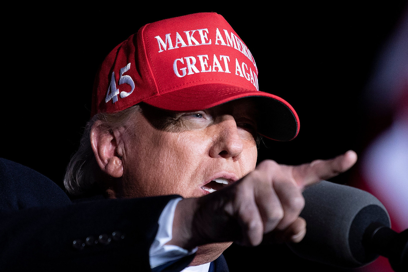 Donald Trump tijdens een verkiezingsrally in november 2020