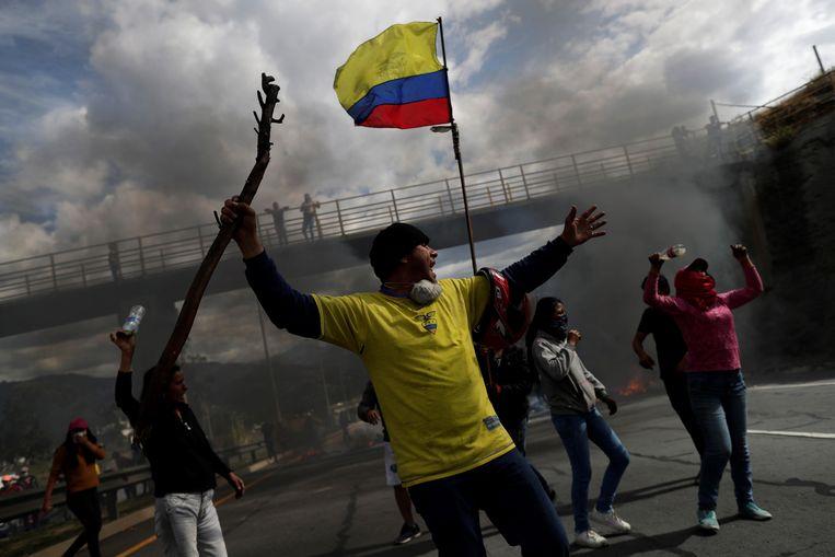 Demonstranten ten oosten van Quito, de hoofdstad van Ecuador. (12.10.2019)