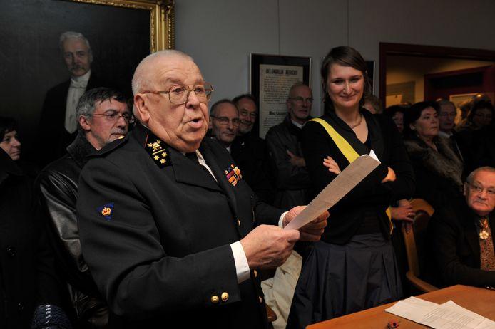 Oud-brandweercommandant Gustaaf Van den Berghe op de Barbaraviering van de brandweer in 2010.