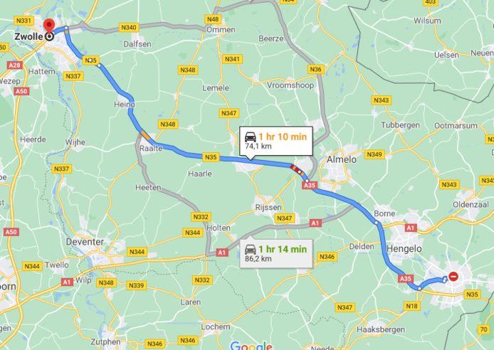 De N35 tussen Zwolle en Enschede