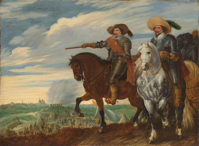 Frederik Hendrik en Ernst Casimir tijdens het beleg van Den Bosch geschilderd door Pauwels van Hillegaert circa 1629-1635.