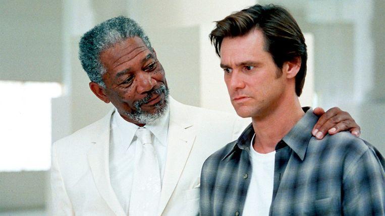 Morgan Freeman en Jim Carrey in Bruce Almighty van Tom Shadyac. Beeld