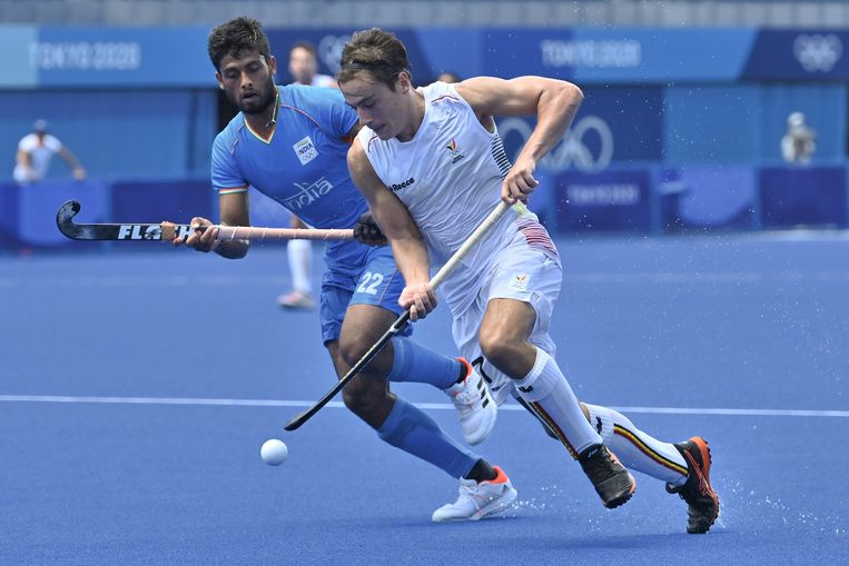 Thomas Briels in actie tegen India op de Spelen. Beeld BELGA