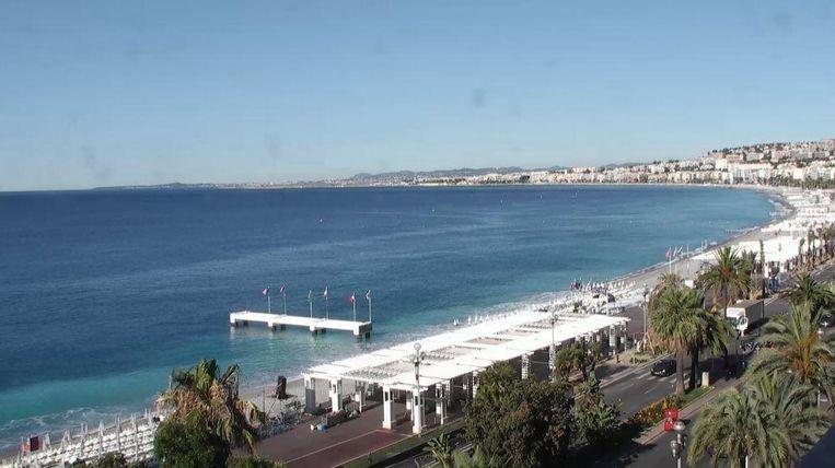 De kust van Nice vrijdagmorgen. Beeld Screenshot