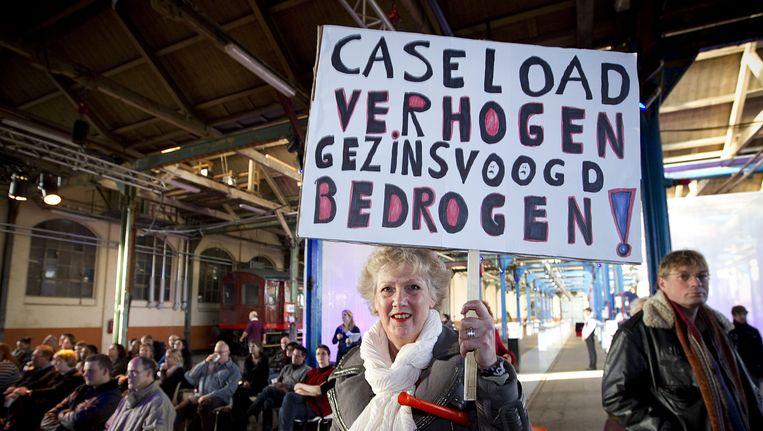 Protest van jeugdzorgmedewerkers in Amersfoort. Beeld ANP