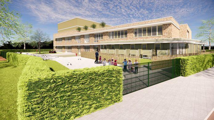 Deze artist impressions laten zien hoe de nieuwe basisschool van de nieuwe wijk Molensloot eruit gaat zien.