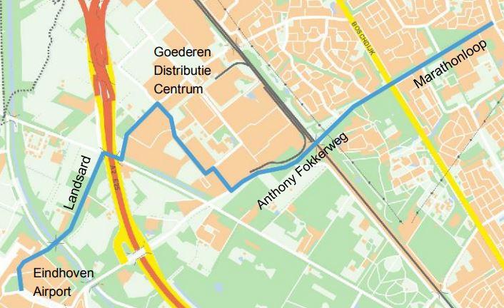 Het tracé voor de nieuwe HOV-lijn tussen station Woensel en Eindhoven Airport/BIC.