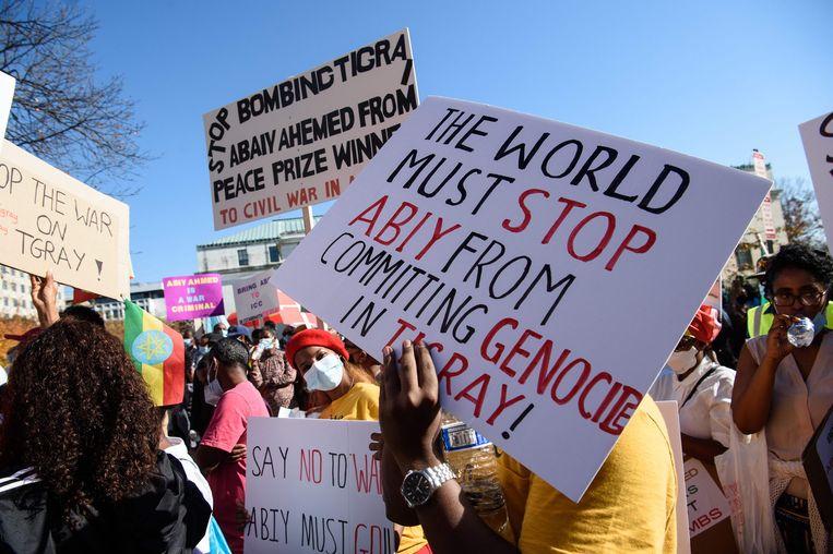 Amerikaanse leden van de Tigray-diaspora demonstreerden deze week in Washington D.C.  Beeld Nicholas Kamm/AP