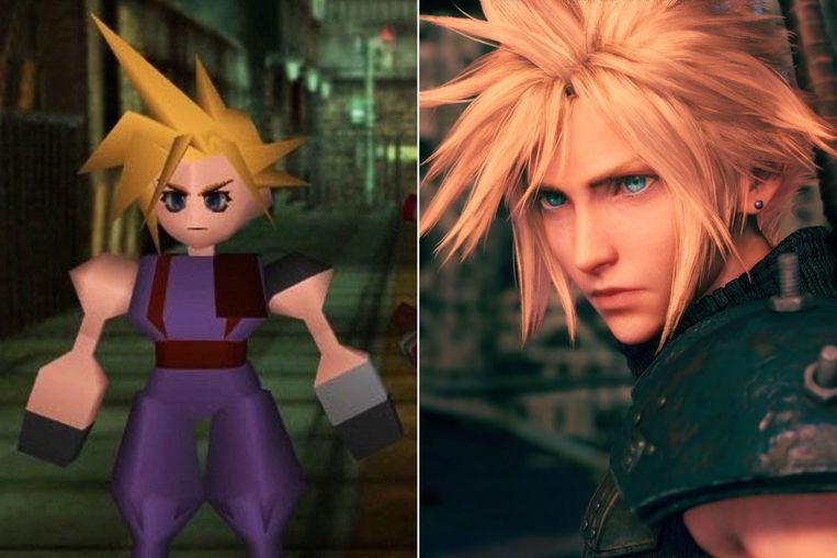 De held Cloud Strife uit 1997 en anno 2021: dezelfde spectaculaire kuif, maar meer pixels. Beeld Square Enix