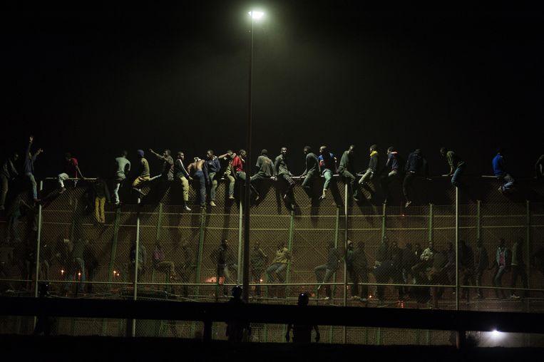 Melilla, Spanje, augustus 2013. Immigranten proberen over het 12 kilometer lange hek tussen Marokko en de Spaanse eclave te klimmen. Beeld Giulio Piscitelli