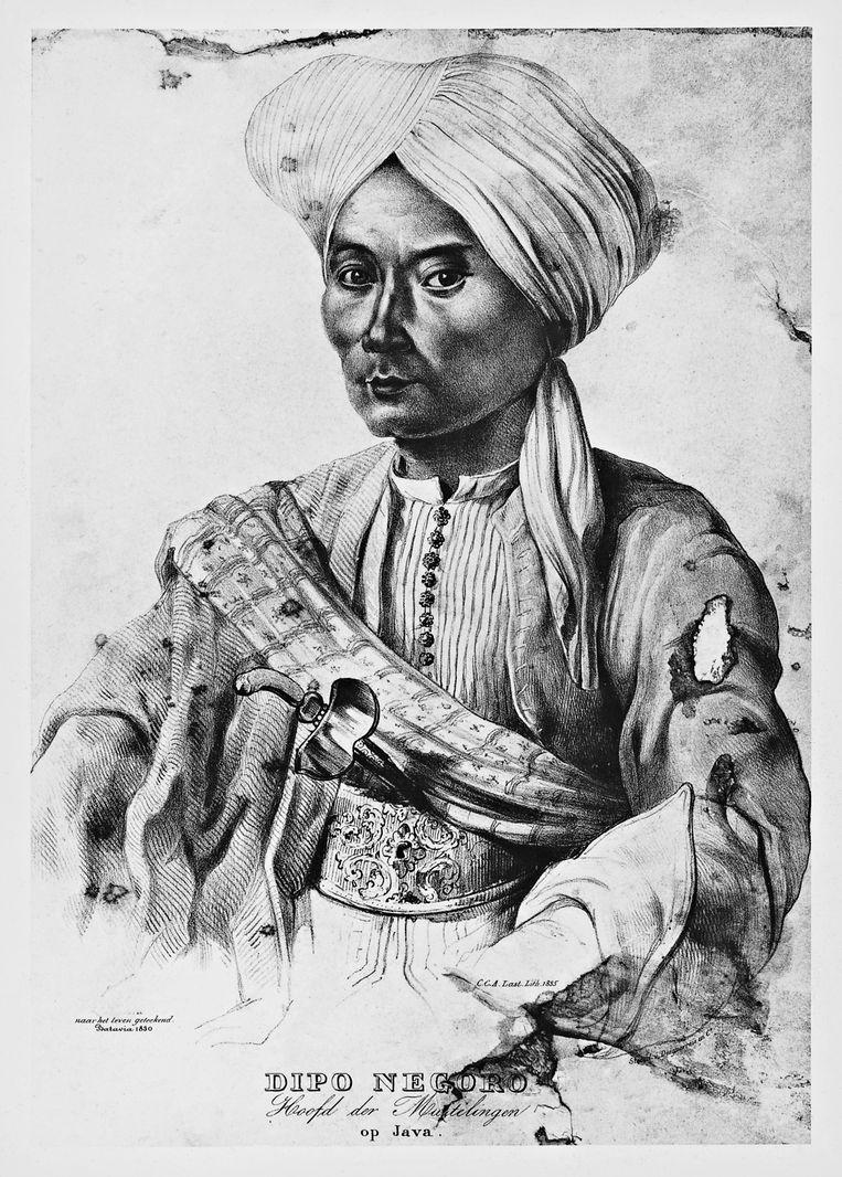 Portret van de Javaanse prins Diponegoro. Deze steendruk uit 1835 is in bezit van het Tropenmuseum. Beeld De Agostini via Getty Images