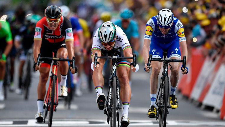 Van Avermaet, Peter Sagan en Dan Martin Beeld anp