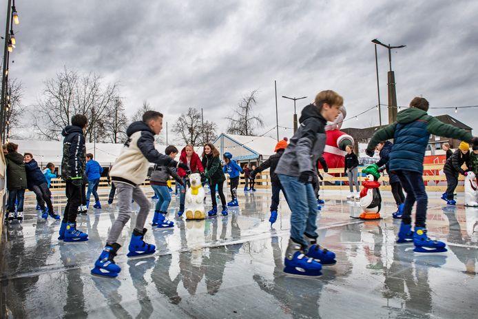 De schaatsbaan in Malden tijdens het Winterfestijn in 2019.