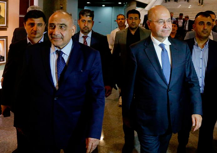 De nieuwe president van Irak, Barham Saleh (rechts) en links de nieuwe premier, Adel Abdel Mahdi.