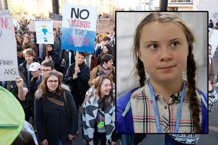 Het Zweedse klimaatmeisje Greta Thunberg (inzet) zal volgende week mee betogen in Brussel.