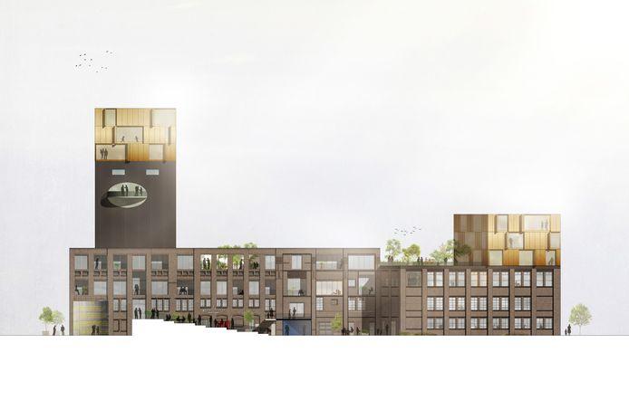 Een schets van de 'nieuwe Honig': wonen en werken in de oude hallen en meeltoren.