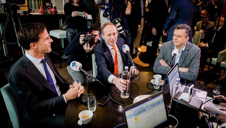 Lijststrekkers Mark Rutte (VVD), Kees van der Staaij (SGP) en Emile Roemer (SP) tijdens het NPO Radio 1 Lijsttrekkersdebat. Beeld anp