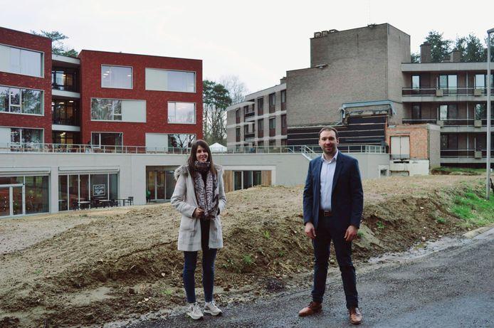Ine Baptist en Wim Vangeel aan het nieuwe bouwproject