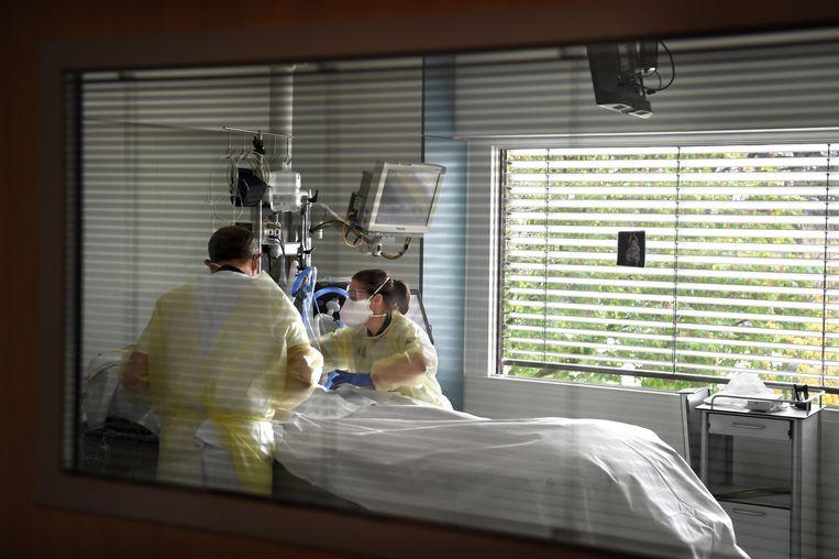 Een coronapatiënt op de intensive care. Beeld Marcel van den Bergh / de Volkskrant