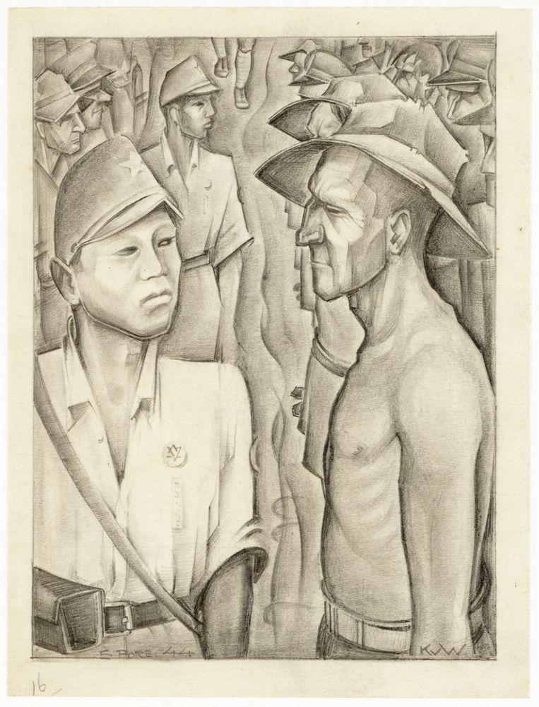 Kees van Willigen, Krijgsgevangenen en bewakers in het Changi-kamp Beeld Museon