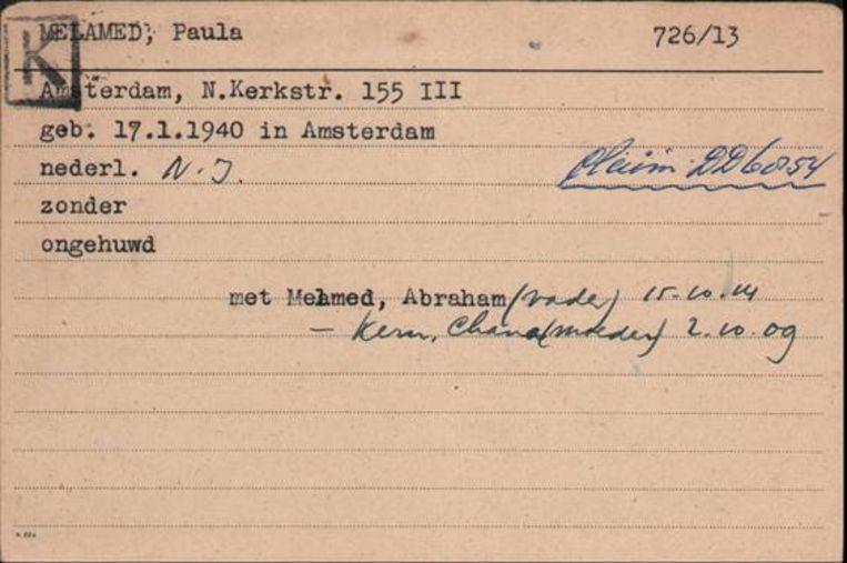 Joodse raadskaart Paula Melamed. Beeld Prive-archief