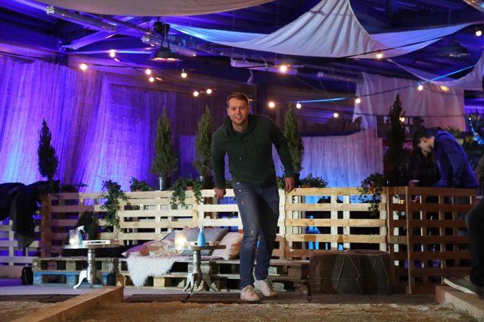 Jeu de boulers in de bocht op de Oval ijsbaan in Silverdome  in Zoetermeer.