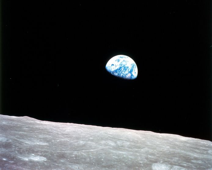 De beroemde foto van de aarde vanuit de Apollo 8, geschoten op 24 december 1968.