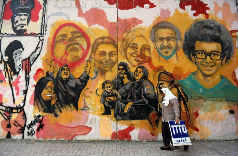 Graffiti in het centrum van Caïro. Beeld Reuters