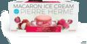 Pierre Hermé, le célèbre pâtissier français, réinvente le macaron en version glacée. Le biscuit est craquant et moelleux. Trois saveurs sont disponibles (vanille - chocolat - Ispahan : rose-framboise-litchi). Prix: 9,80 euros la boîte de deux macarons glacés. Disponible chez Rob The Gourmet's Markt.