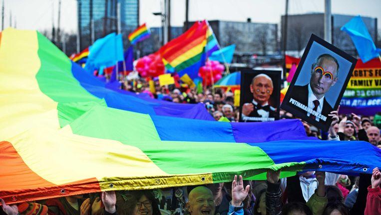 In 2013 werd tijdens het bezoek van president Poetin in Amsterdam gedemonstreerd tegen de Russische antihomowet. Beeld ANP