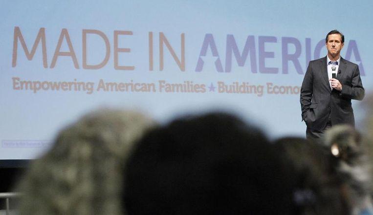 Rick Santorum houdt een toespraak voor aanhangers tijdens een evenement in Nashville, Tennessee. Beeld reuters