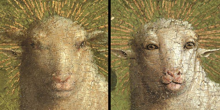 Het lam op Het Lam Gods voor (links) en na de restauratie (rechts). Beeld