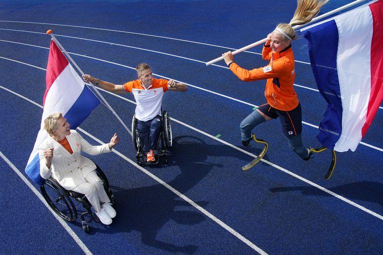 Esther Vergeer, Jetze Plat en Fleur Jong (van links naar rechts) Beeld Hollandse Hoogte / Soenar Chamid sportfotografie