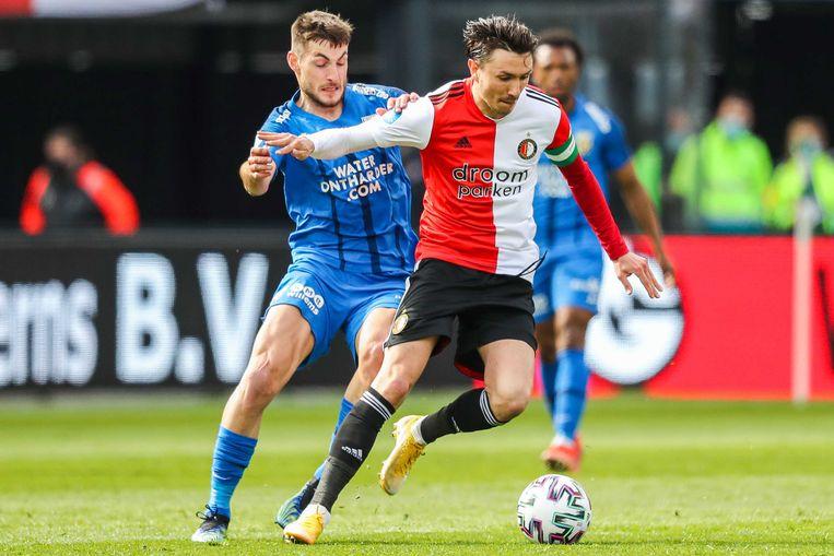 Steven Berghuis, hier in actie tegen Vitesse, verruilt Feyenoord voor Ajax. Beeld ANP