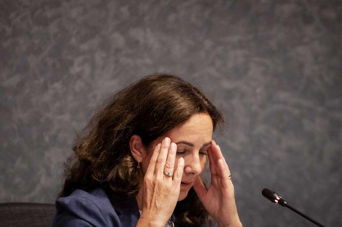 Femke Halsema tijdens het spoeddebat in het Amsterdamse gemeenteraad.