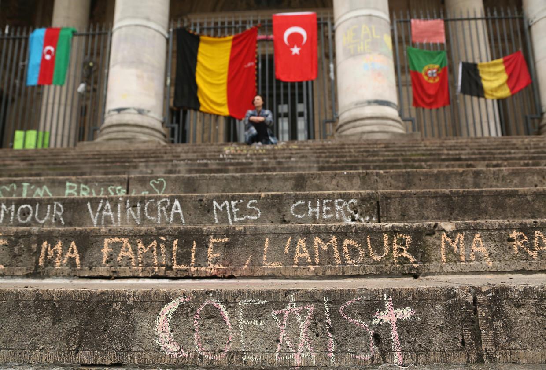 De Beurs van Brussel, vlak na de aanslagen in Zaventem en de metro. Beeld Getty Images