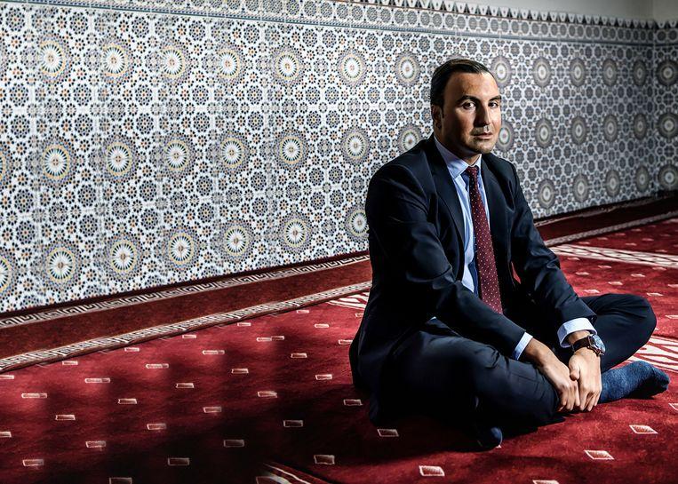 Khalid Benhaddou: 'Ik heb negen jaar gestudeerd in de Grote Moskee van Brussel. Daar werd ik constant gevoed met vijandbeelden ten aanzien van het Westen.' Beeld humo
