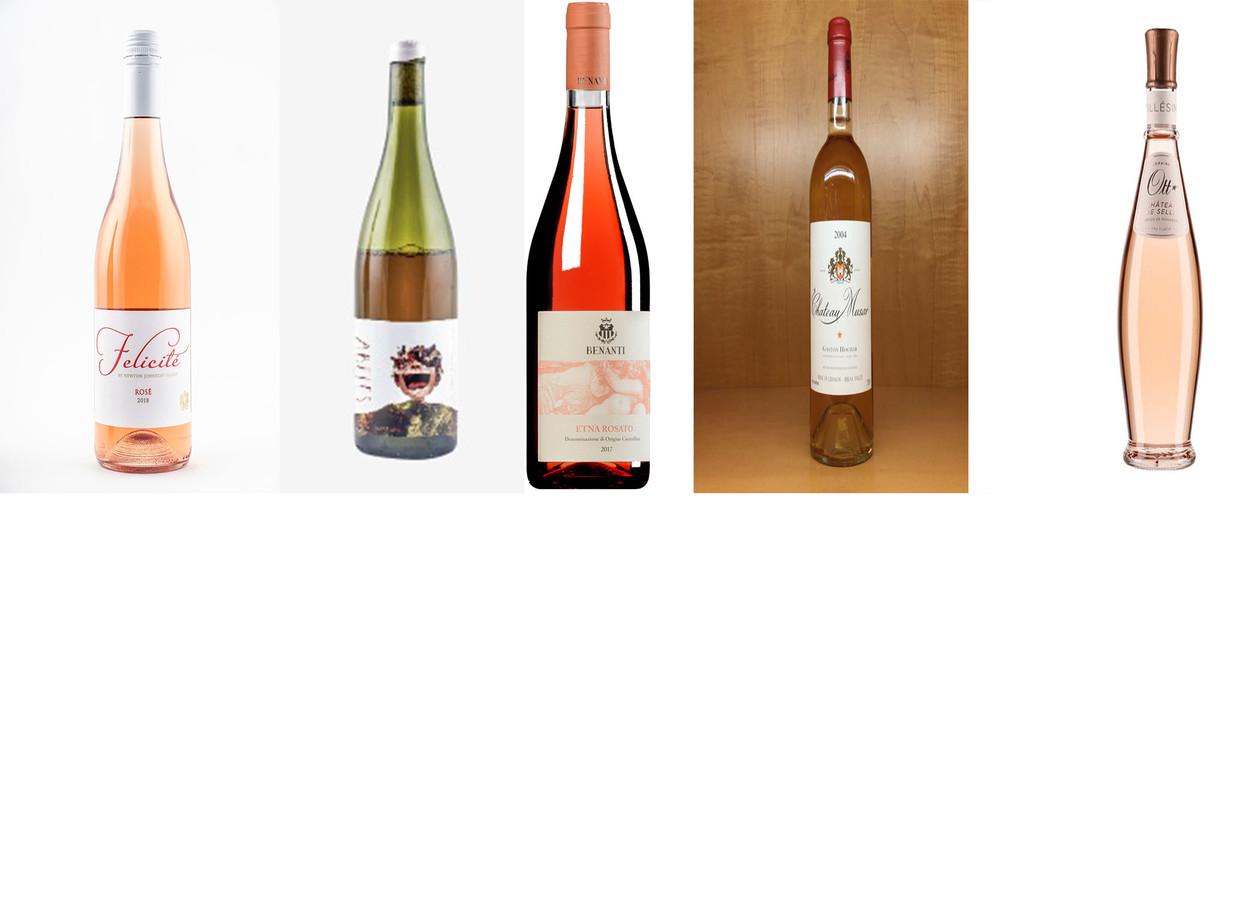 Rosé uit de speciaalzaak, met van links naar rechts: Félicité Rosé, Holass Abeles Cabernet Rosé, Benanti Etna Rosato, Château Musar Rosé en Domaines Ott Château de Selle Rosé.